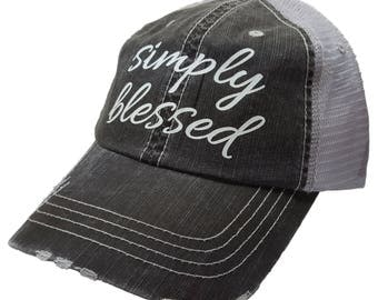 "Women's Baseball Caps, ""Simply Blessed "" Distressed Glitter Ladies Trucker Baseball Hat Cap, Womens Hats, Womens Caps, Womens Baseball Cap"