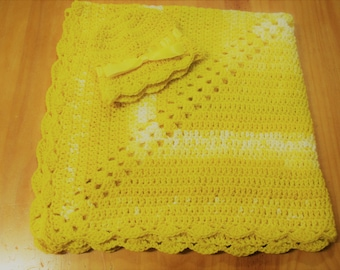 NEW Handmade Crochet Baby Blanket and Hat/Beanie Set - Yellow & White Speckled Striped - A Wonderful Baby Shower Gift!! - SEE NOTE!
