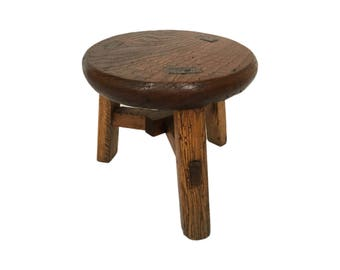Small Wood Stool Plant Stand