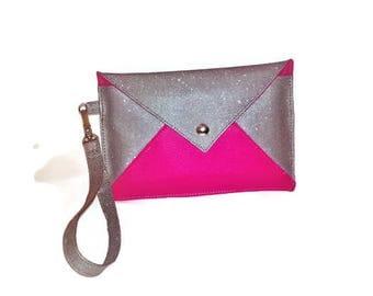 Evening pouch money - bag wedding money - bag Cocktail money - Fuschia - Fuschia - pink clutch bag wedding clutch