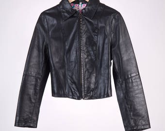 Leather biker Jacket 70 '-Gucci style-black butterfly-Cod D23