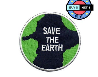 Save The Earth Logo Sign Embroidered Iron On Patch Heat Seal Applique Sew On Patches