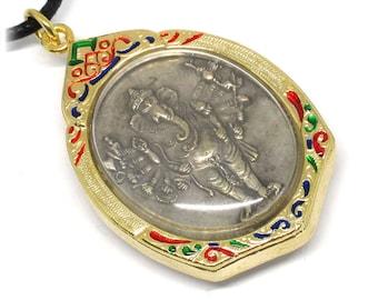 Ganesha Amulet Pendant Vira Ganapati Om Pendant Hindu Charm Meditation Necklace Thai Amulet Ganesha Pendant Hindu Amulet Ganesh Charm