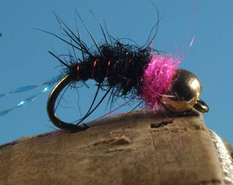 "3-pack ""Black Squirrel"" flies, fly fishing flies, hand-tied flies, wet flies, Trout flies, nymph fly pattern, weighted fly pattern"