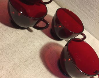 Red Glass Tea Cup