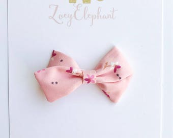 Mini Zoey Bow in Pink Cherry Bloossom-Pink Floral Bow, Pink Bow, Pigtail Set, Pigtail Bows, Floral Bow, Pink Fabric Bow, Baby Shower Gift