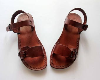 Classic Jesus sandals , Made in Jerusalem from Genuine Leather . Low heels sandals for   women and men  .