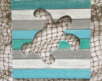 Sea Turtle Beach Wall Art Coastal Nursery Decor