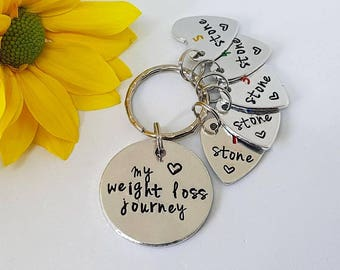 Weight Loss Keyring Keychain, My Weight Loss Journey, Hand Stamped Personalised Keyring, Motivational Keyring, Dieting, Weight Loss Gift