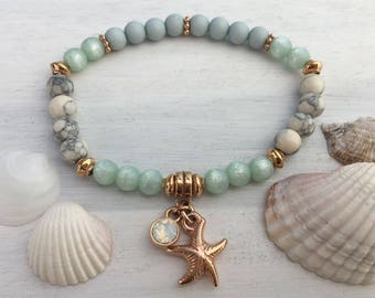 Beautiful and summery pearl bracelet Mint-Offwhite Rosé gold with starfish and Swarovski pendant
