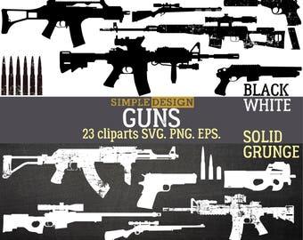 Gun SVG, Guns SVG, Rifle SVG, Pistol svg, Gun svg files, Gun silhouette, Gun clipart, Bullet, m16, ak47, grunge distressed, silhouette