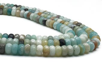 1Full Strand 5mm*8mm Amazonite Rondelle Faceted Round Beads,Mixed Color Amazonite Gemstone