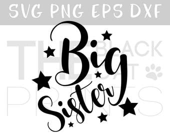 Big sister svg for Cricut Vector svg file Big sister clipart Svg cut file Siblings svg Iron on Sister svg Stars cut file Girl svg Family