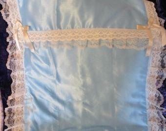 Blue Satin Cot Quilt