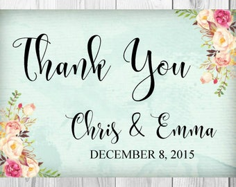 Thank You Card Sign, Vintage Floral Boho Wedding Invitation, Save the Date, Details, RSVP Card, Old Rustic Floral Boho Wedding Invite Set