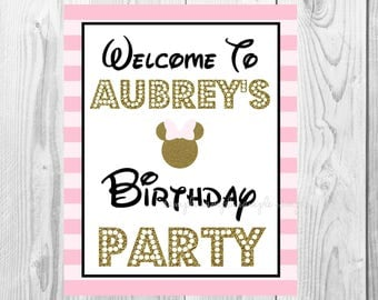 "Welcome To Birthday Party Sign, Minnie Mouse Birthday Party Sign, 8""x10"" Printable, Instant Download, Gold & Pink Sign"