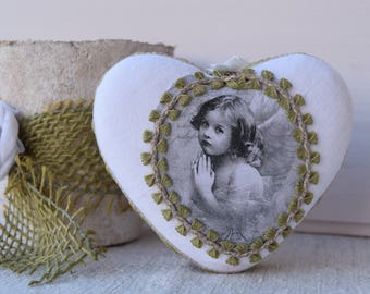 Heart decorative shabby - vintage white - heart hanging heart - heart - romantic heart - heart pillow of door hanging