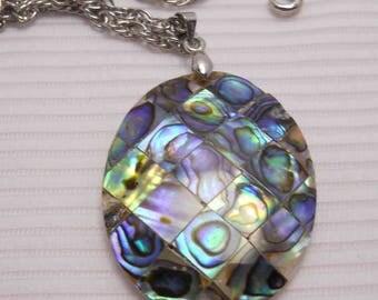 Paua Abalone Shell Pendant Vintage Necklace