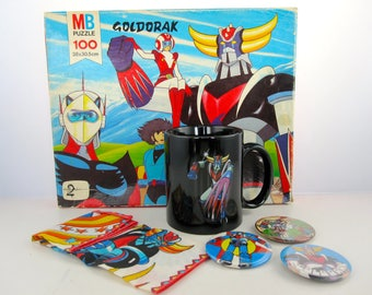 Goldorak Toei Package: 1 Mug + 3 badges + 1 + Puzzle 1 tissue-Japan-1970/80