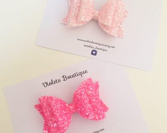 Girls pink glitter bow, large glitter bow, girls pink clip, duo pink hair bow set, ha t pink bow, light pink bow