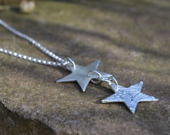 Mothers day, Fine silver double Star necklace, long sterling silver necklace, star pendant, gifts for her, 2 star necklace, silver star