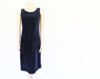 Blue Velvet Dress, 1990s, Laura Ashley, UK10, Day Dress, Blue, Midi Dress, Festival Dress, Ladies Clothing, Blue Dresses, Ladies Clothing