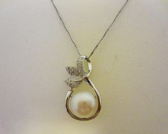 """Stunning Cultured Freshwater 12mm 925 sterling silver&zircon necklace white 18"""""""