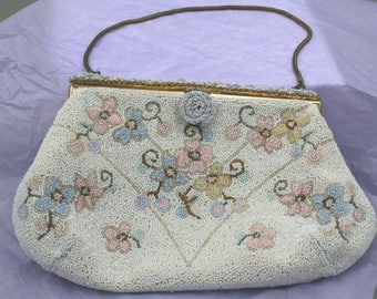 French Beaded Purse, Evening Bag, Ed B. Robinson, 1940's