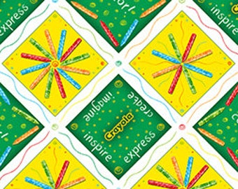 "By The HALF YARD - Ready, Set, Color by Crayola For Quilting Treasures, #23058GS Diagonal Crayola Patchwork 7"" Green & Yellow Crayon Squares"