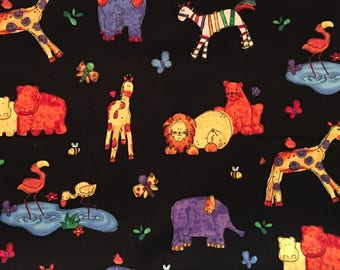 By The HALF YARD - Jungle Buzz - Rainbow Collection by Cheri Strole for Northcott, Pattern #4702-99 Jungle Animals and Insects on Black
