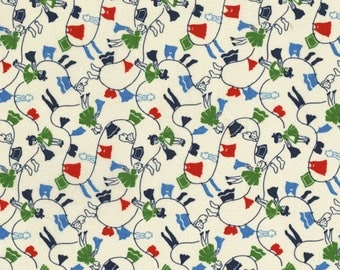 By The HALF YARD - Everything But The Kitchen Sink by Yuko Hasegawa for RJR Fabrics, #1976-002 Clothesline, Clothes Hanging on Creamy White