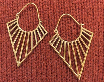 Triangle Sun Ray Modern Tribal Earrings