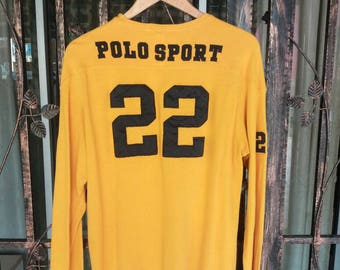 Vintage Polo sport long sleeve jersey tee spellout with number/yellow/large/polo usa/polo bear/polo stadium/polo kswiss