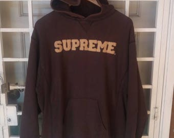 Vintage Supreme hoodie spellout embroidery/large size/made in usa/brown/hip hop/streetwear