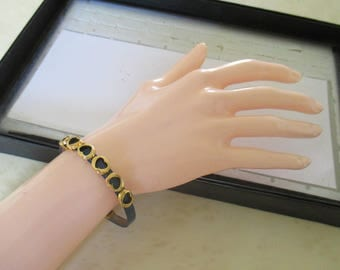 blue leather with heart bracelet