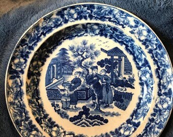 Vintage Blue & White Ceramic Asian Plate