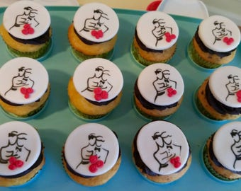Bride and Groom With Bouquet Fondant Cupcake Toppers