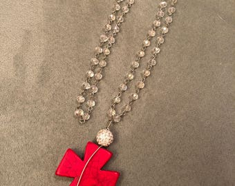Crystal Beaded Cross Necklace