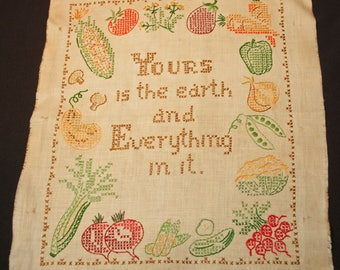 "Vintage Cross Stitch Embroidered Finished Linen Motto Sampler - ""Yours is the earth and Everything in it"""