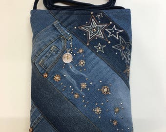 Denim Patriotic Crossbody Purse and Matching Coin Purse