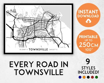 Townsville map print, Townsville print, Townsville city map, Townsville poster, Townsville wall art, Map of Townsville, Queensland map