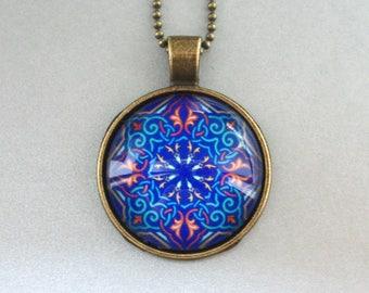 Mandala Necklace Blue Geometry Shapes Tiles