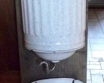 Old French Enamelware wash basin sink Wall. White enamel water fountain, pond shell. Shabby garden francais.1900 decoration