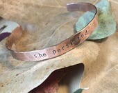 She Persisted Bracelet, Hammered Copper Cuff, Mantra Bracelet, Words Bracelet, Eco Friendly Gifts, Sustainable Jewelry, Girlfriend Gift