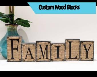 Family Blocks, Name Blocks, Wood Blocks, Burlap Wood Blocks, Home Blocks, Family Tree, Blocks, Family Sign, Wood Decor, Home Blocks, Wedding
