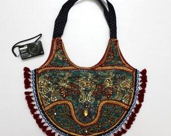 Handmade Ethnic Designer Tribal Banjara Patchwork Embroidered Hippy Fashionable Stylish Trendy Hippie Gypsy Boho Bohemian Shopper Bag I074