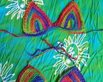 OOAK Crochet Bikini Top made with Rainbow Sparkle Blend Yarn