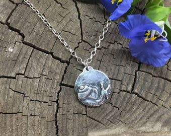 Silver snail charm pendant, snail charm, snail pendant, silver charm, handmade animal charm, artisan charm, initial charm, custom charm