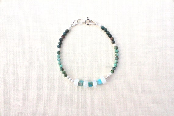 sterling silver bracelet and semi-precious stones: african turquoise, rainbow moonstone and blood stone