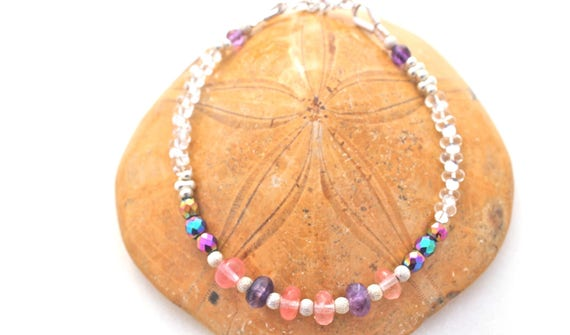 gemstones and Silver 925 Bracelet: Amethyst, cherry quartz, Rainbow hematite